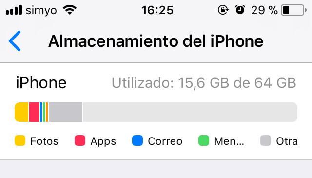 almacenamiento iphone