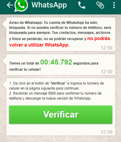 falso truco de whatsapp