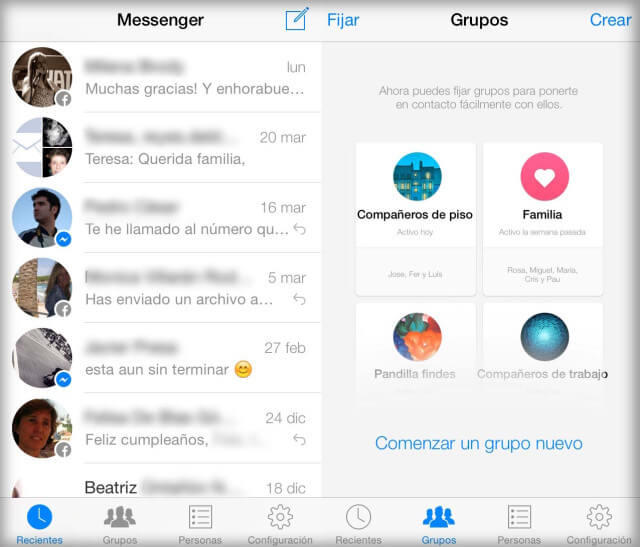 Messenger Facebook Crea grupos